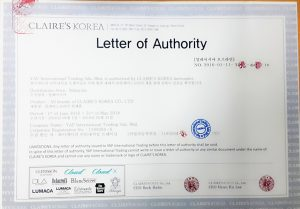 Authorized Letter certificate - Claire Korea